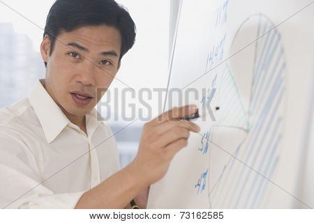 Asian businessman writing on whiteboard