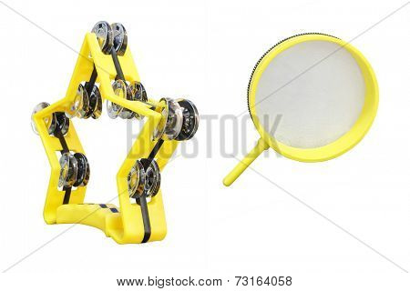 The image of yellow tambourine isolated under the white background