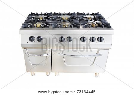 the image of a professional gas stove at restaurant