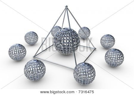 Molecular Structure Rendered Pyramid In 3D