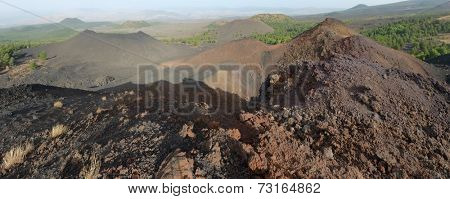 recent volcanic crater (eruption 1974) of De Fiore Mount and other volcanic cone in Etna National Park, Sicily