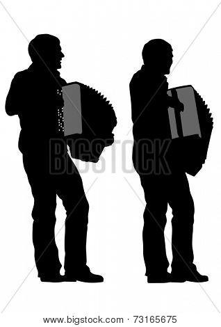 Music man whit accordion on white background
