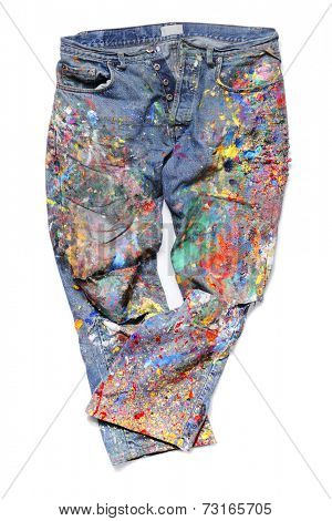 Old Jeans covered with acrylic artist's paints.