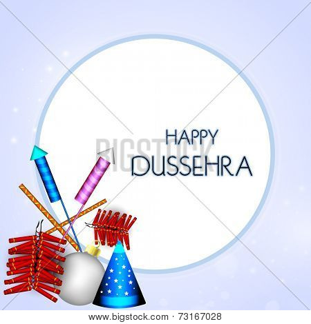 Illustration of colourful crackers with stylish Happy Dussehra text in rounded white frame.