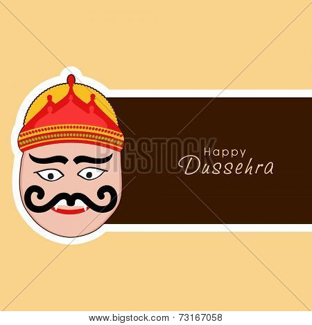Illustration of Ravana face wearing red crown with stylish text on label.
