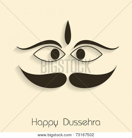 Illustration of funny face of Ravana in black with stylish text.