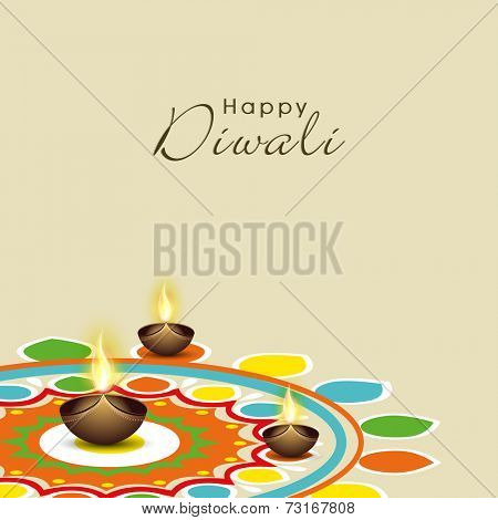 Illustration of colourful rangoli with illuminated brown lit lamps and stylish text.