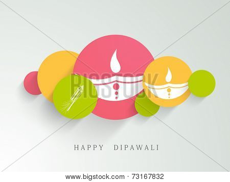 Colourful circles with illustration of white lampions and crackers with stylish text.