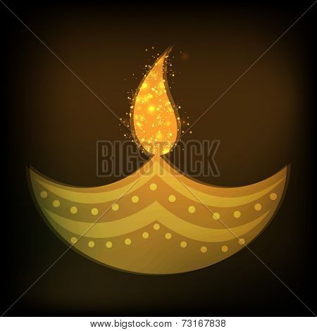 Illustration of a decorated  lampion with sparkler flame on grungy background.