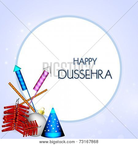 Stylish text of Happy Dussehra in circle with colourful crackers on blue background.