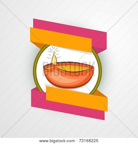 Illustration of a colourful lampion in frame with paper ribbons on seamless grey background.