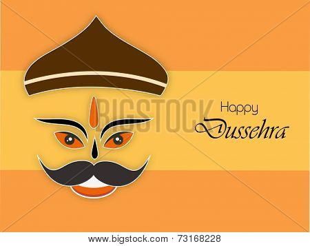 Illustration of Laughing Ravana face wearing brown crown with stylish text on orange background.