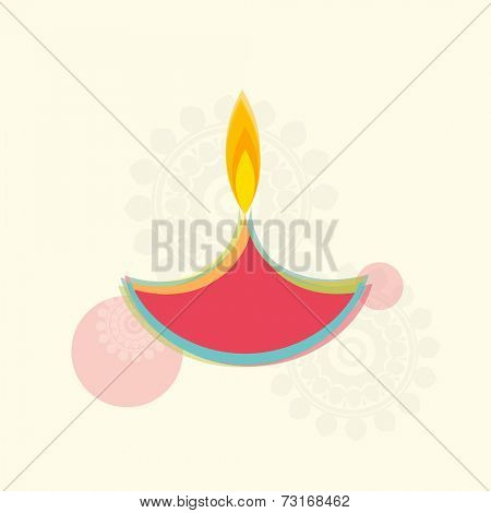 Illustration of colourful illuminated lampion with shadow of rangoli.