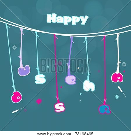 Illustration of colourful  hanging text Dussehra with crackers  in kiddish way on seamless background.