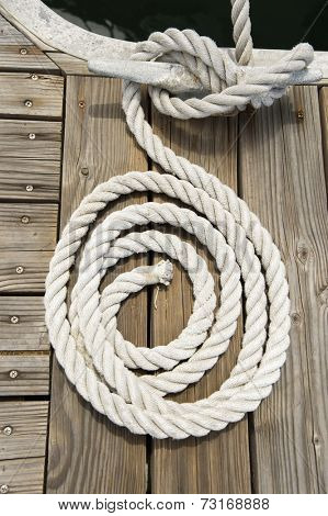 Rope of boat tied to a jetty cleat