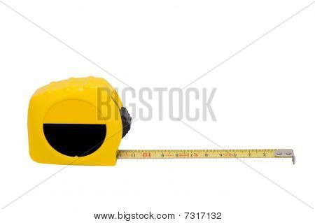 Yellow Ruler Isolated On A White Background Clipping Path.