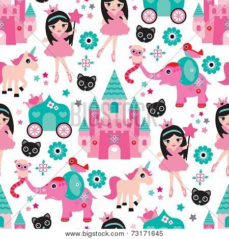 Seamless little girl princess castle unicorn and elephant illustration background pattern in vector