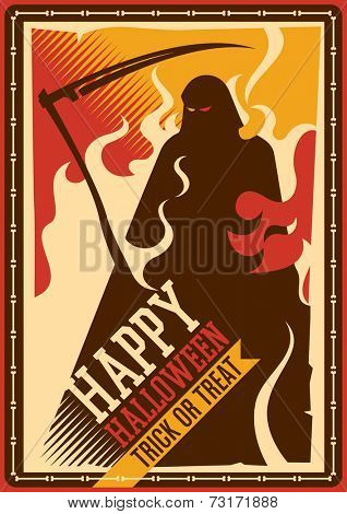 Halloween poster with grim reaper. Vector illustration.