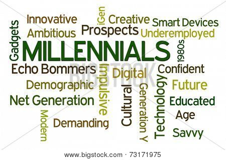 Millenials word cloud on white background