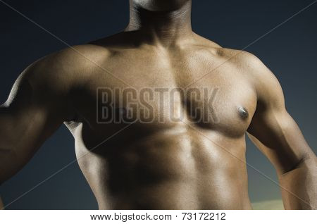 African American man's bare chest