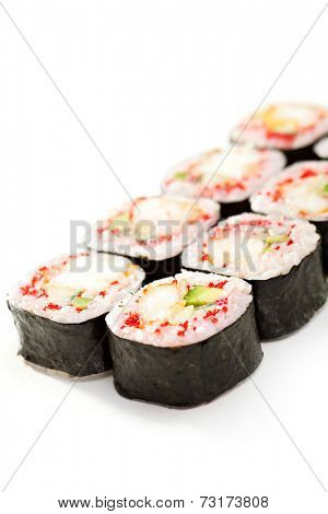 Japanese Cuisine - Sushi Roll with Crab Meat and Vegetables inside