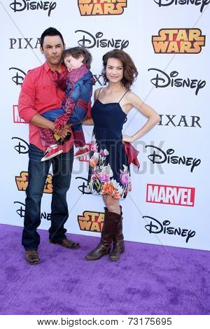 LOS ANGELES - OCT 1:  Michael Saucedo, son, Rebecca Herbst at the VIP Disney Halloween Event at Disney Consumer Product Pop Up Store on October 1, 2014 in Glendale, CA