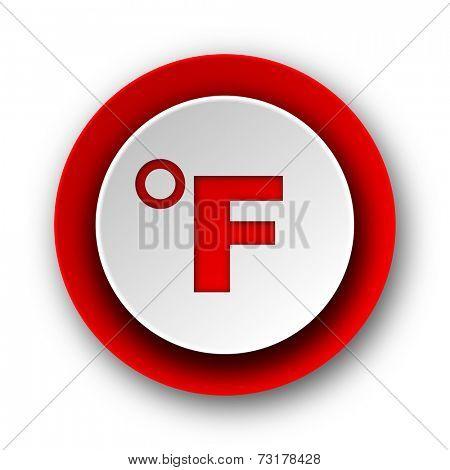 fahrenheit red modern web icon on white background