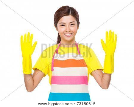 Housekeeper wear plastic gloves