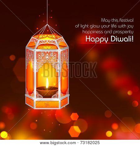 illustration of hanging kandil in Diwali night