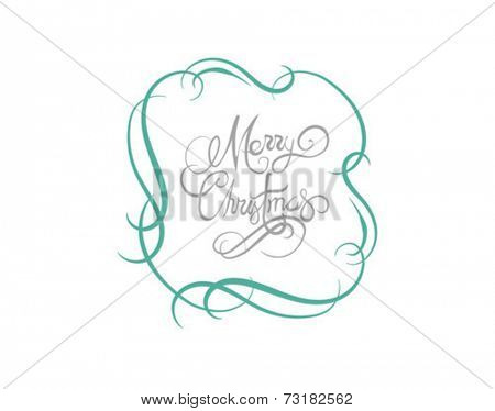 Merry christmas message vector in cursive green and grey on white background