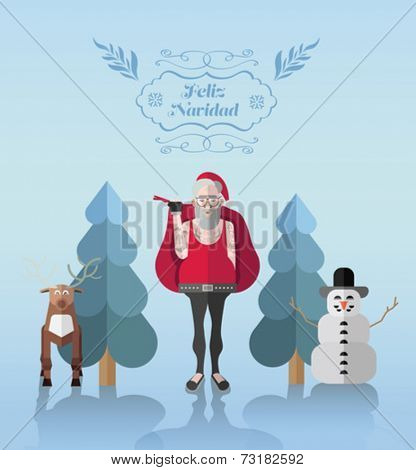 Feliz navidad, Merry Christmas in Spanish, message vector with hipster illustrations on blue background
