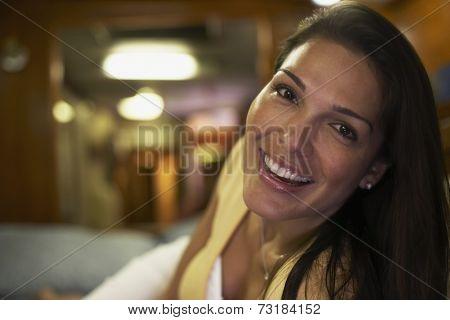 Close up of Hispanic woman smiling