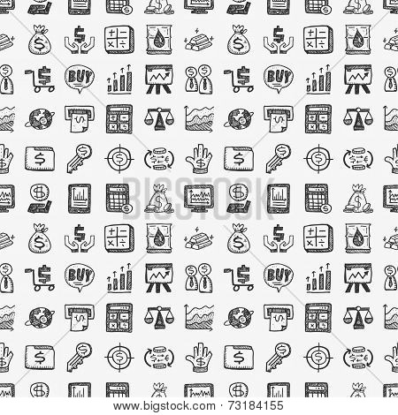 Seamless Doodle Financial Pattern