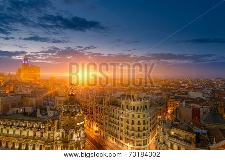 Spectacular view of Madrid at dusk