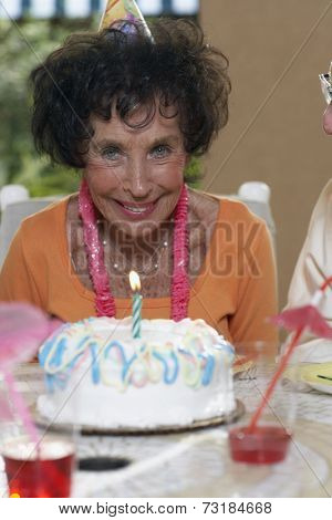 Senior woman celebrating birthday