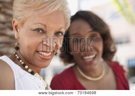 Senior African American women laughing