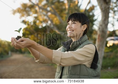 Asian woman holding small plant