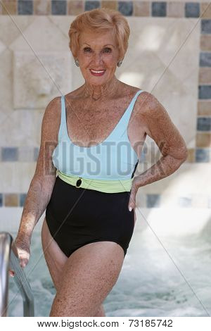 Senior woman wearing bathing suit