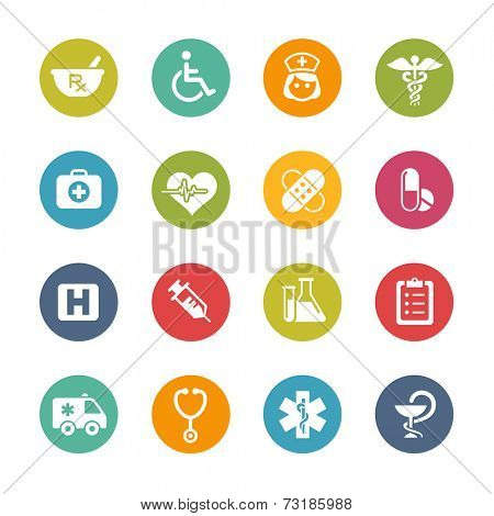 Medical Icons // Fresh Colors -- Icons and buttons in different layers, easy to change colors.