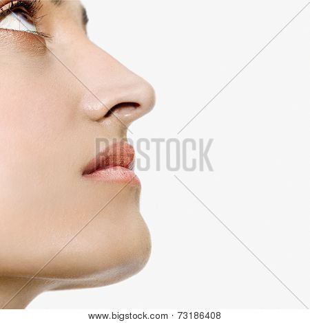 Profile of Indian woman looking up