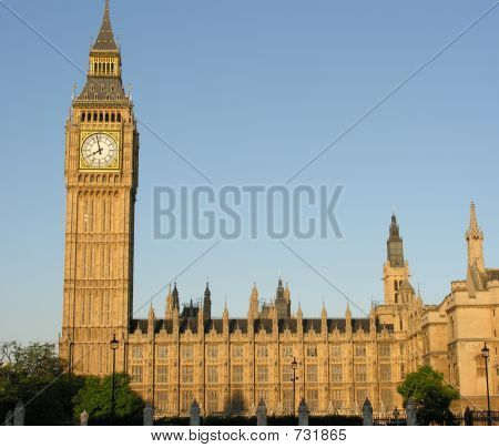 Big Ben  and Parliament in Evening Sunlight