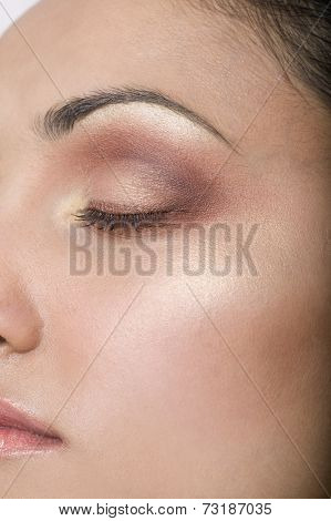 Close up of Indian woman with eye closed