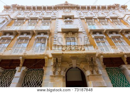 Cartagena modernist buildings downtown in Murcia Spain