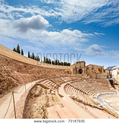 Cartagena Roman Amphitheater in Murcia at Spain