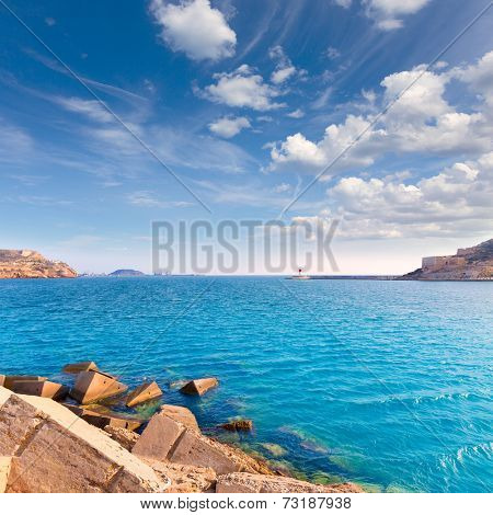 Cartagena port in Murcia at Mediterranean sea of Spain