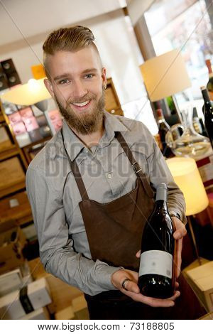 Man working in wine shop