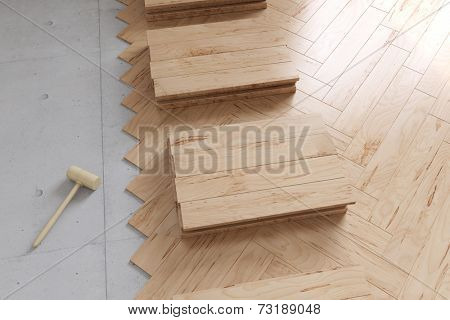 Poplar parquet flooring from above during renovation of a room