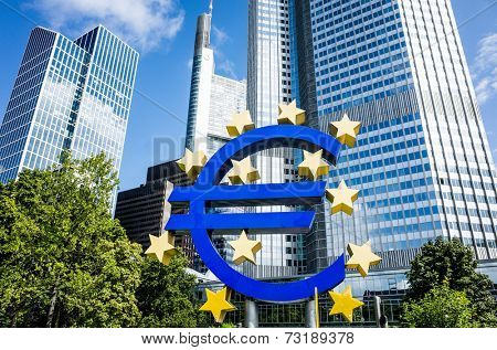 Frankfurt, Germany-August 16 : Euro Sign. European Central Bank (ECB) is the central bank for the euro and administers the monetary policy of the Eurozone. February 12, 2014 in Frankfurt, Germany.