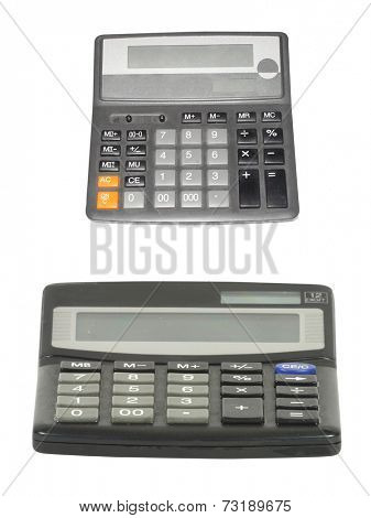 calculator under the white background. Focus under the buttons of calculator.