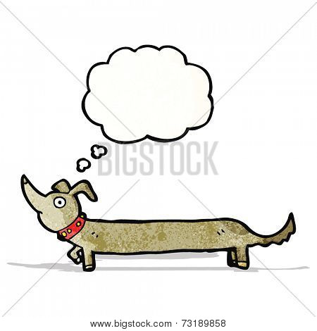 cartoon sausage dog with thought bubble